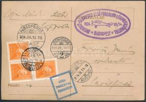 1934 Légi levelezőlap Parádfürdőre MISKOLC - DEBRECEN ELSŐ FORGALMI LÉGIPOSTAJÁRATTAL / BUDAPEST alkalmi bélyegzéssel, hátoldalán 2 klf levélzáróval