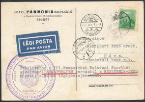 1937 Balatoni csillagtúra légi képeslap KESZTHELY - PÉCS