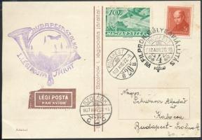 1937 Légi alkalmi levelezőlap BUDAPEST - SZOLNOK I. LÉGIPOSTA JÁRAT + VII. FILPROK BÉLYEGKIÁLLÍTÁS alkalmi bélyegzéssel, hátoldalán 4 klf levélzáróval
