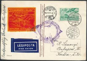 1937 Légi alkalmi levelezőlap SZOLNOK - BUDAPEST I. LÉGIPOSTA JÁRAT alkalmi bélyegzéssel, levélzáróval