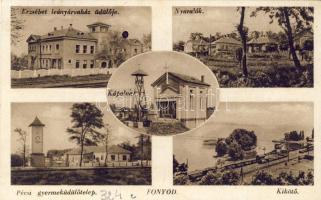 Fonyód, Erzsébet leányárvaház üdülője, nyaralók, Pécsi gyermeküdülő telep, kikötő