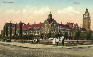 Kiskunhalas, Városháza, automobil, kiadja özv. Pressburger Ferencné papír- és könyvkereskedése (EK)