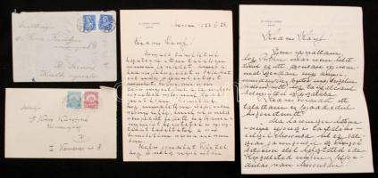 cca 1910-1930 Kresz Károly levelezése 7 db levél, boríték és fénykép