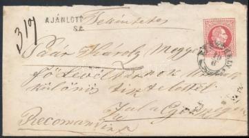 1867 Ajánlott 5kr díjjegyes boríték 10kr díjkiegészítéssel / Registered 5kr PS-cover with additional franking KESZTHELY - SZALA-EGERSZEG