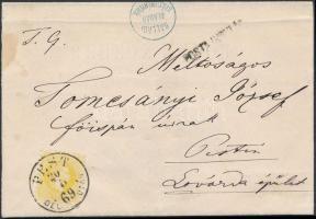 1869 2kr citromsárga helyi nyomtatványon / 2kr yellow on local printed matter PEST / DÉL UTÁN