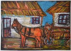 Borbély Gizella (1920-1994): Lovasszekér. Pasztell, papír, jelzett, 35×49 cm