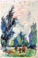 Antal Irén (1903-1999): Erdei munka. Akvarell, papír, jelzett, 48×31 cm