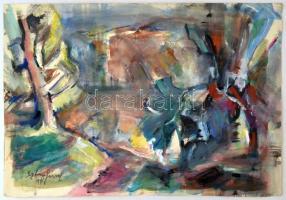 Igaly József (1905-1980): Kanyargós út. Akvarell, papír, jelzett, 36×53 cm