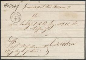 1860 2 x felhasznált levélborító / cover used twice: Ex offo NEU-MOLDOVA - ORAVICZA + Ex offo ORAVICZA - TEMESVÁR - LUGOS (lyukak / holes)