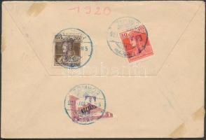 SHS 1920 Cenzúrás levél Kisegítő portó bélyegekkel portózva közte felezett 1K / Censored cover with auxiliary postage due stamps including bisected 1K ZOMBOR