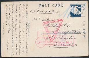 1916 Képeslap a Nikolsk Ussuriysk-i hadifogolytáborból Sárospatakra / Postcard from P.O.W. camp Nikols Ussuriysk to Hungary