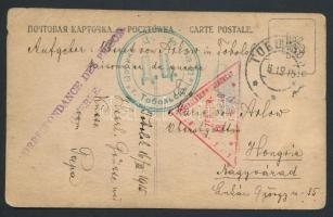 1915 Képeslap a Nikolsk Ussuriysk-i hadifogolytáborból Sárospatakra / Postcard from P.O.W. camp Nikols Ussuriysk to Hungary