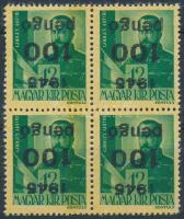 1945 Kisegítő III. 100P/12f négyestömb fordított felülnyomással (60.000) / Mi 819 block of 4 with inverted overprint