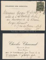 Charles Chaumet (1866-1932) francia politikus saját kézzel megírt névjegykártyája /  Autograph letter of Charles Chaumet French politican