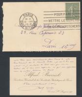 1918 Alfred Barriol. francia statisztikus, tudós saját kézzel megírt névjegykártyája /  1918 Autograph lines of Alfred Barriol secretary general of the French Statistic Institute