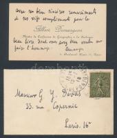Albert Demangeon (1872-1940) francia geográfus saját kézzel írt köszönő kártyája / 1918 Autograph written letter of Albert Demangeon French geographian