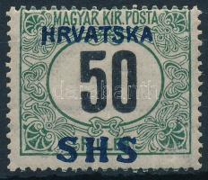 SHS 1918 Feketeszámú Portó 50f (*27.000) / Postage due Mi 34y Signed: Bodor