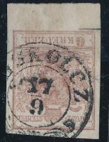 1850 6kr HP type I.; rand: 6 mm; alsó vonalon bevágás ollóval / small cut below