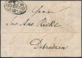 1832 Portós levél / Unpaid cover ,,SZEGEDIN - Debreczin