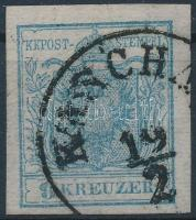 1850 9kr HP. type I. !; selyempapír / silk paper 0,07 mm; enyhe gépszínátnyomattal / light machine offset; KASCHA(U); Signed: Ferchenbauer