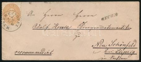 ~1865 10kr + 15kr on registered cover to Saxony