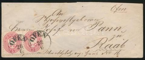 ~1865 5kr pair on cover