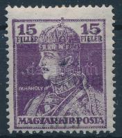 Baranya I. 1919 Károly 45f/15f próbanyomat, a B betű felső része azonos az alsóval (50.000) / Mi VII proof with plate variety. Signed: Bodor (nagyon halvány felülnyomás / pale overprint)