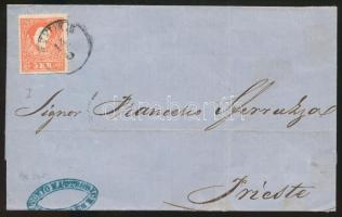 "~1859 5kr I on cover ""FIUME"" - ""TRIEST"", ~1859 5kr I levélen ""FIUME"" - ""TRIEST"""