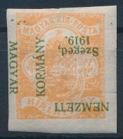 Szeged 1919 Hírlapbélyeg fordított felülnyomással (~88.000) / Mi 1 with inverted overprint. Signed: Bodor