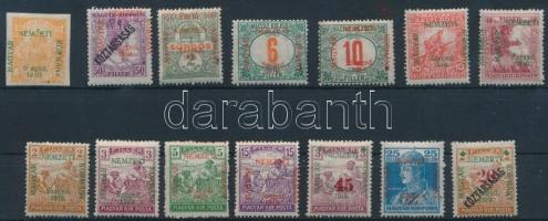 Szeged 1919 14 klf bélyeg (23.450) / 14 different stamps. Signed: Bodor (5kr postatiszta / mint never hinged)