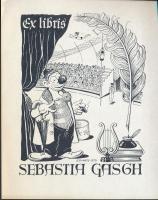 Juan Estiarte (1901-1986): Ex libris Sebatia Gasch. Klisé, papír, jelzett a klisén, 10×7,5 cm