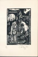 Csiby Mihály (1922-2016): Ex libris Hegedűs Ibolya. Linó, papír, jelzett, 9,5×6 cm