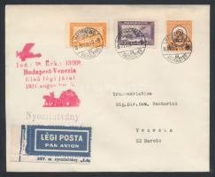 1931 Első repülés nyomtatvány / First flight printed matter Budapest - Venezia