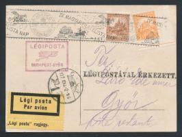 1927 IV. Magyar Filatelista Nap Budapest - Győr légi levelezőlap