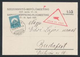 1927 Szezonnyitó repülőmeeting alkalmi légi levelezőlap, készült 1000 példányban / Season opening aviation meeting postcard. Issue 1000 pcs