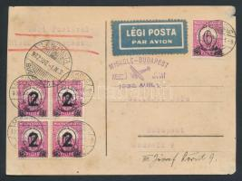 1932 Első repülés levelezőlap / First flight postcard MISKOLC - BUDAPEST