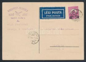 1932 Első repülés levelezőlap / First flight postcard BUDAPEST - MISKOLC