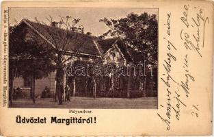 Margitta, Marghita; pályaudvar, vasútállomás, kiadja Hungária könyvnyomda / railway station (kis szakadás / small tear)