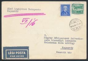 1934 Első légijárat Budapest - Kaposvár légi levelezőlap