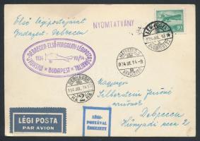 1934 Légi nyomtatvány Debrecenbe MISKOLC - DEBRECEN ELSŐ FORGALMI LÉGIPOSTAJÁRATTAL / BUDAPEST alkalmi bélyegzéssel