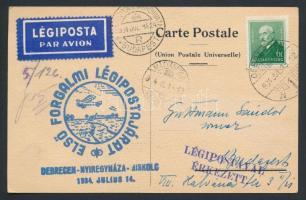 1934 Légi képeslap Budapestre DEBRECEN - NYÍREGYHÁZA - MISKOLC ELSŐ FORGALMI LÉGIPOSTAJÁRAT alkalmi bélyegzéssel