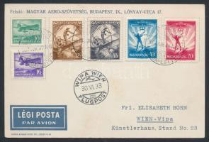 1933 Légi levelezőlap Repülő (II.) 10f-72f bérmentesítéssel WIPA WIEN / FLUGPOST bélyegzéssel
