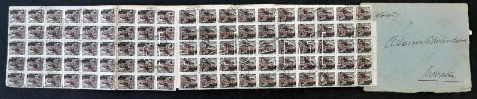 1946 (18. díjszabás) Eredetileg 200 db Betűs Távolsági levél bélyeggel bérmentesített távolsági levél / Domestic cover franked with 200 stamps VÉSE - Marcali (5 bélyeg hiányzik / 5 stamps missing)