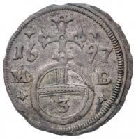 Német Államok / Szilézia 1697M-B 3pf Ag I. Lipót Brieg (0,69g) T:2 ph. /  German States / Silesia 1697M-B 3 Pfennig Ag Leopold I Brieg (0,69g) C:XF edge error Krause KM#594