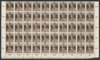 Baranya I. 1919 Károly 20f teljes ív, benne antikva, rövid-vékony 1-es és egyéb lemezhibák, eltolódott felülnyomás (min 52.800) / Mi 36 complete sheet with plate varieties and shifted overprint. Signed: Bodor