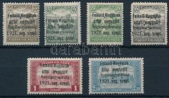 Nyugat-Magyarország I. 1921 6 klf érték hármaslyukasztással (27.900) / Mi 2, 4-7, 9 with 3 hole punching. Signed: Bodor (60f, 1K postatiszta / mint never hinged)
