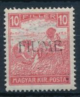 Fiume 1918 Fehérszámú Arató 10f kézi felülnyomással (10.000) / Mi 6 with manual overprint. Signed: Bodor