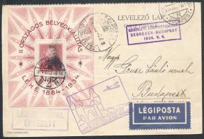 1934 LEHE blokk alkalmi légi levelezőlapon / Mi block 1 on special airmail card Debrecen - Budapest