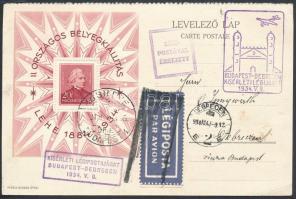 1934 LEHE blokk alkalmi légi levelezőlapon / Mi block 1 on special airmail card Budapest - Debrecen