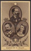 cca 1900 Az olasz királyi cslaádot ábrázoló lito kép / Litho image depicting the Italian royal family. 9x11 cm